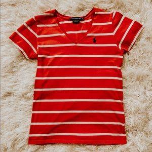 Red/coral striped women's Ralph Lauren tee